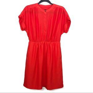J. Crew Factory Orange Casual Cinched Waist Dress